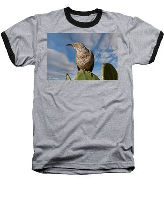 Curve-billed Thrasher On A Prickly Pear Cactus Baseball T-Shirt