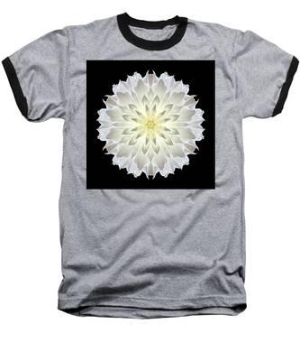 Giant White Dahlia Flower Mandala Baseball T-Shirt