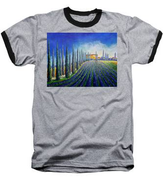 Lavender Field Baseball T-Shirt
