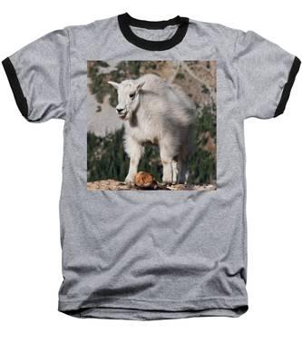 Mountain Goat Kid Standing On A Boulder Baseball T-Shirt