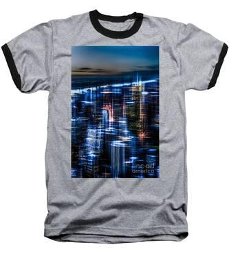 New York - The Night Awakes - Blue I Baseball T-Shirt