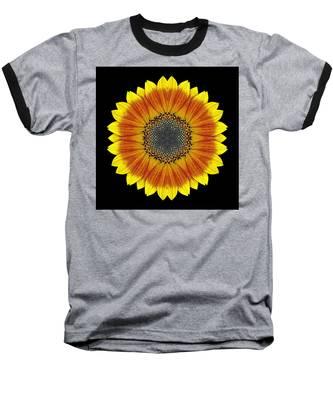 Orange And Yellow Sunflower Flower Mandala Baseball T-Shirt
