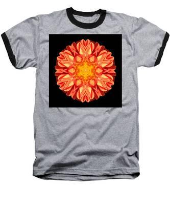 Orange Dahlia Flower Mandala Baseball T-Shirt