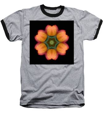 Orange Daylily Flower Mandala Baseball T-Shirt