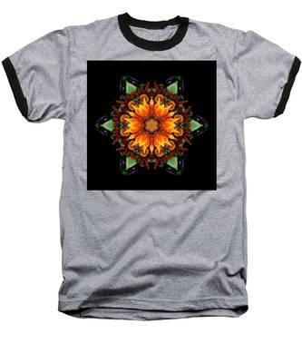 Orange Gazania IIi Flower Mandala Baseball T-Shirt