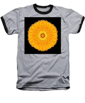 Orange Nasturtium Flower Mandala Baseball T-Shirt
