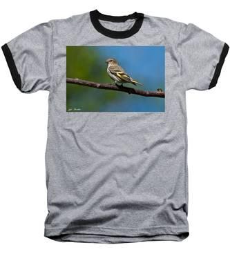Pine Siskin Perched On A Branch Baseball T-Shirt