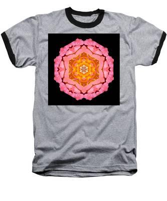 Pink And Orange Rose I Flower Mandala Baseball T-Shirt