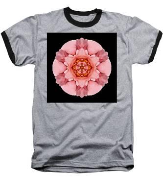 Pink And Orange Rose Iv Flower Mandala Baseball T-Shirt