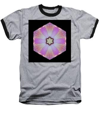 Pink And White Hibiscus Moscheutos I Flower Mandala Baseball T-Shirt