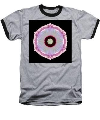 Pink And White Hibiscus Moscheutos Vii Flower Mandala Baseball T-Shirt