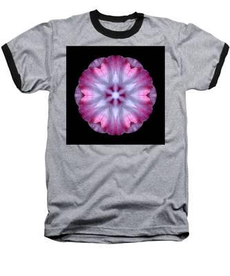 Pink And White Impatiens Flower Mandala Baseball T-Shirt