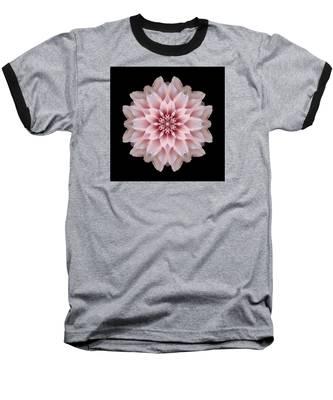 Pink Dahlia Flower Mandala Baseball T-Shirt
