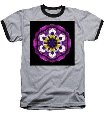 Purple Pansy II Flower Mandala Baseball T-Shirt