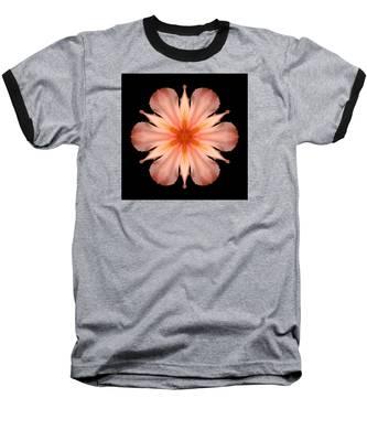 Salmon Daylily I Flower Mandala Baseball T-Shirt