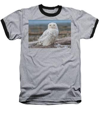 Snowy Owl Watching From A Driftwood Perch Baseball T-Shirt
