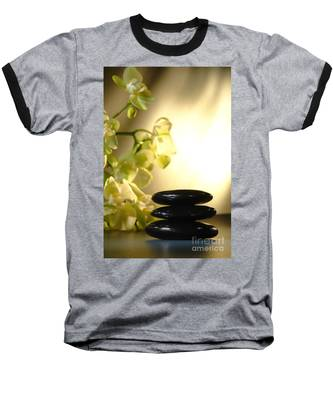 Stone Cairn And Orchids Baseball T-Shirt