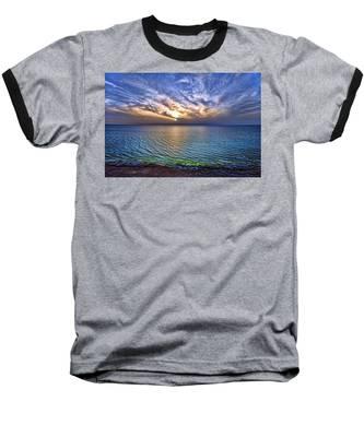 Sunset At The Cliff Beach Baseball T-Shirt