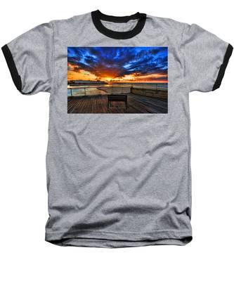 sunset at the port of Tel Aviv Baseball T-Shirt