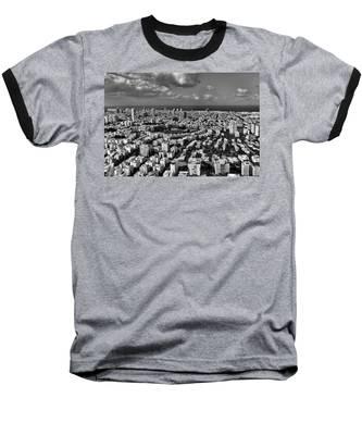 Tel Aviv Center Black And White Baseball T-Shirt