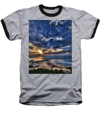 Tel Aviv Sunset At Hilton Beach Baseball T-Shirt