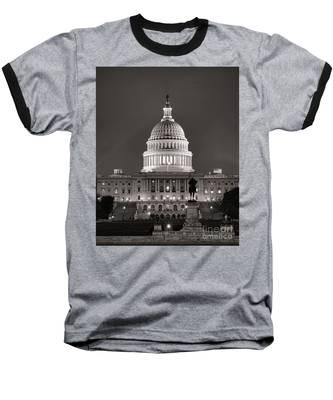 United States Capitol At Night Baseball T-Shirt