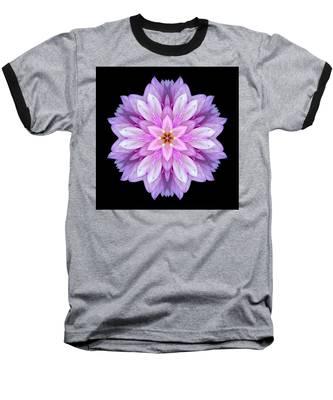 Violet Dahlia I Flower Mandala Baseball T-Shirt