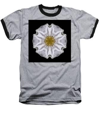 White Beach Rose I Flower Mandala Baseball T-Shirt