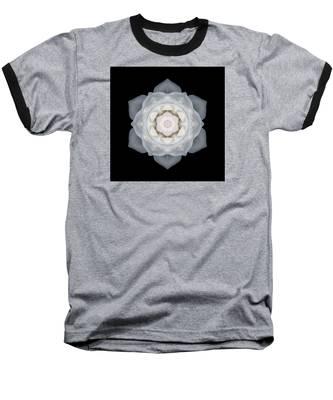 White Rose I Flower Mandala Baseball T-Shirt