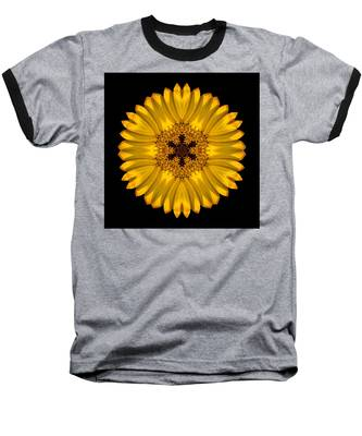 Yellow African Daisy Flower Mandala Baseball T-Shirt