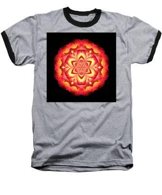 Yellow And Red Rose II Flower Mandalaflower Mandala Baseball T-Shirt