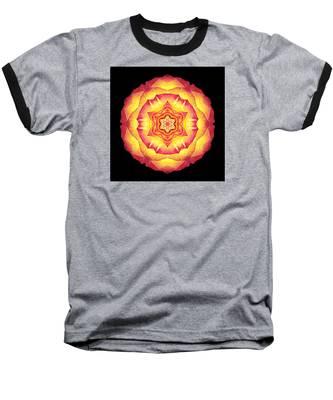 Yellow And Red Rose IIi Flower Mandala Baseball T-Shirt