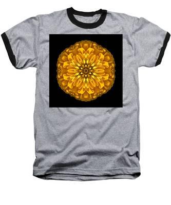 Yellow Zinnia Elegans Flower Mandala Baseball T-Shirt