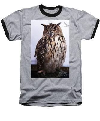 Orange Owl Eyes Baseball T-Shirt