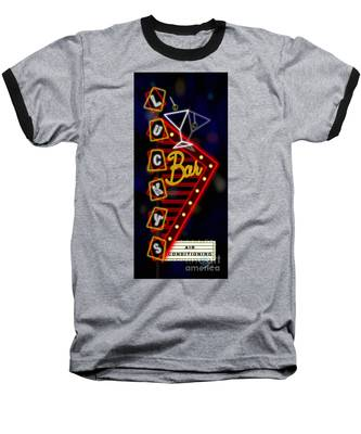Nightclub Sign Luckys Bar Baseball T-Shirt
