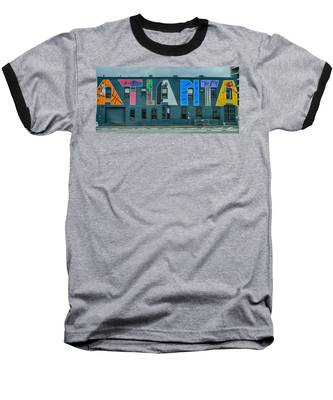 Atlanta Downtown Skyline Scenes In January On Cloudy Day Baseball T-Shirt