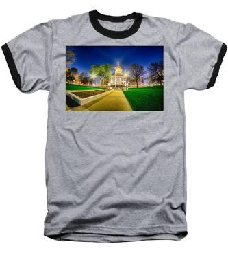 Topeka Kansas Downtown At Night Baseball T-Shirt