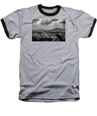 Roanoke City As Seen From Mill Mountain Star At Dusk In Virginia Baseball T-Shirt