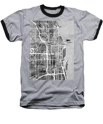 Chicago City Street Map Baseball T-Shirt