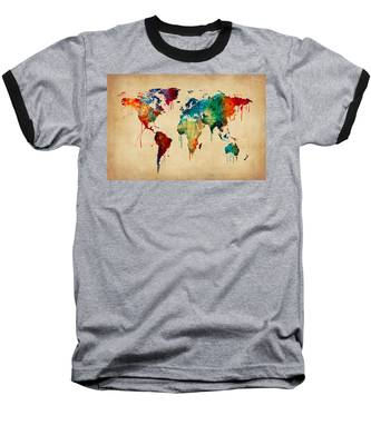 Watercolor Map Of The World Map Baseball T-Shirt