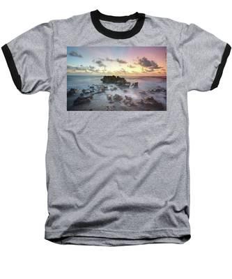 A Rocky Sunrise. Baseball T-Shirt by Evelyn Garcia