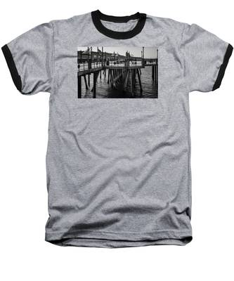 Black And White On The Pier Baseball T-Shirt