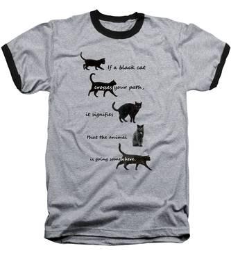 Black Cat Crossing Baseball T-Shirt