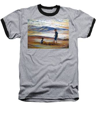 Boys Playing At The Beach Baseball T-Shirt