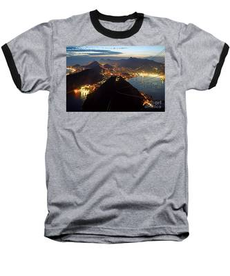 Baseball T-Shirt featuring the photograph Brasil,rio De Janeiro,pao De Acucar,viewpoint,panoramic View,copacabana At Night by Juergen Held