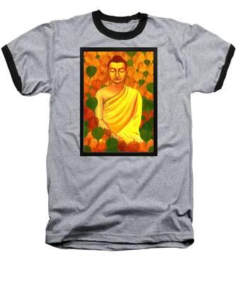 Buddha In Green Leaves Baseball T-Shirt