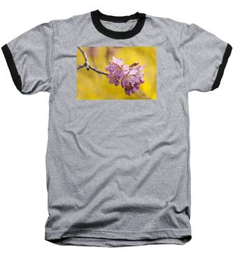 Cherry Blossoms Against Yellow Baseball T-Shirt