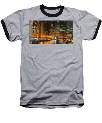 Chicago At Night Baseball T-Shirt