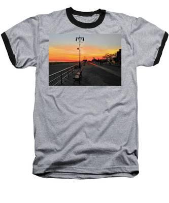 Coney Island Boardwalk Sunset Baseball T-Shirt