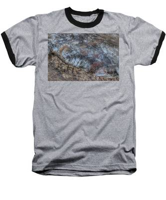 Delaware River Ice With Leaves Baseball T-Shirt